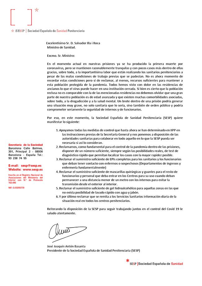 Carta Excmo. Sr. D. Salvador Illa i Roca (Ministro Sanidad)