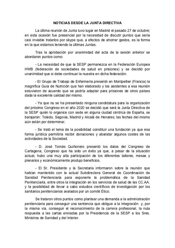 NOTICIAS DESDE LA JUNTA DIRECTIVA